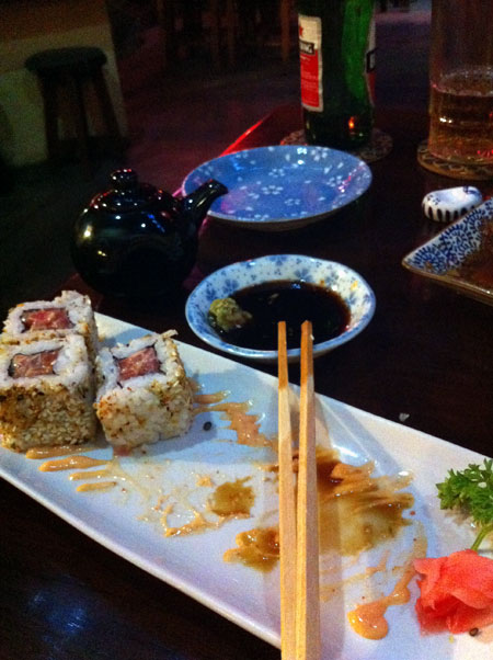 Spicy tuna roll... remnants...