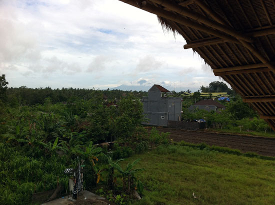 View of Gunung Agung from the communal space at the top of the factory.