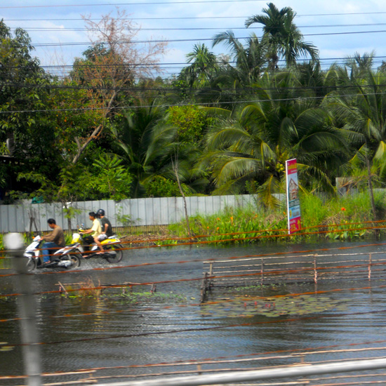 When the roads are flooded you don't need to wear a helmet.
