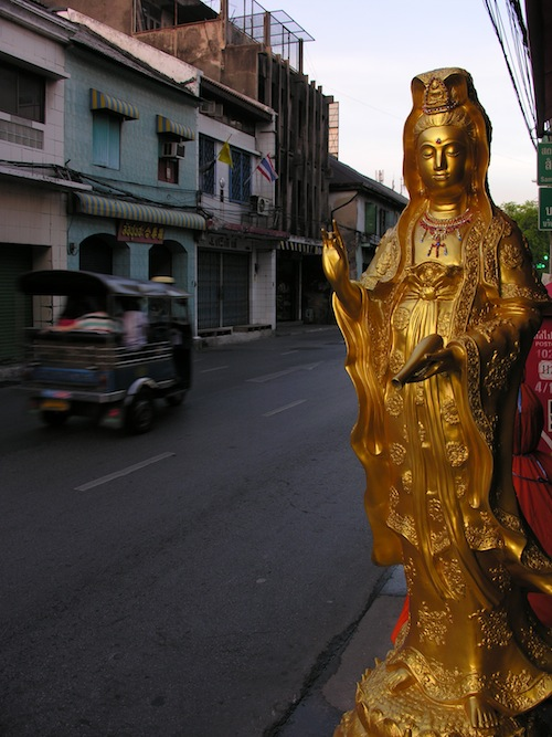 Kuan Yin, providing reassurance to passing drivers as she awaits her new home.