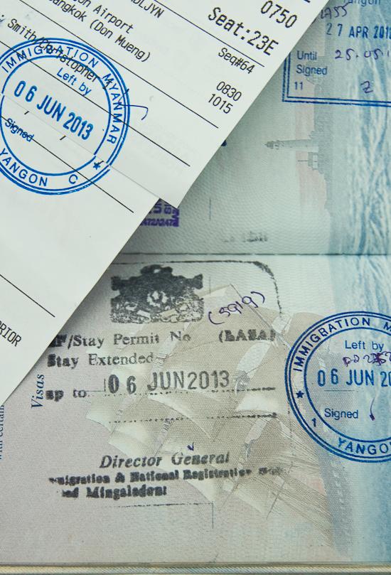 Visa Overstay stamps in Myanmar