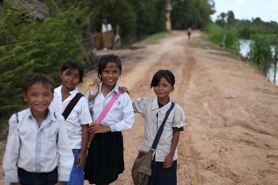 On the way to school, Siem Reap
