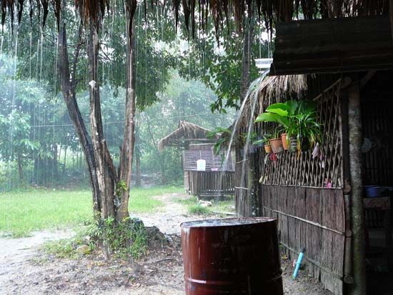Downpour at Cbal Chay Watefall in Sihanoukville