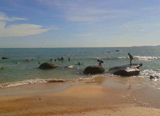 locals playing at Independence Beach, Sihanoukville Cambodia