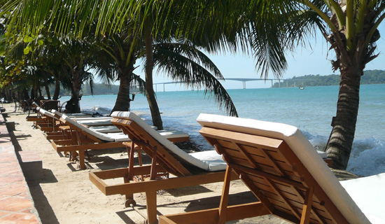 beach lounges at Victory Beach Hotel, Sihanoukville Cambodia