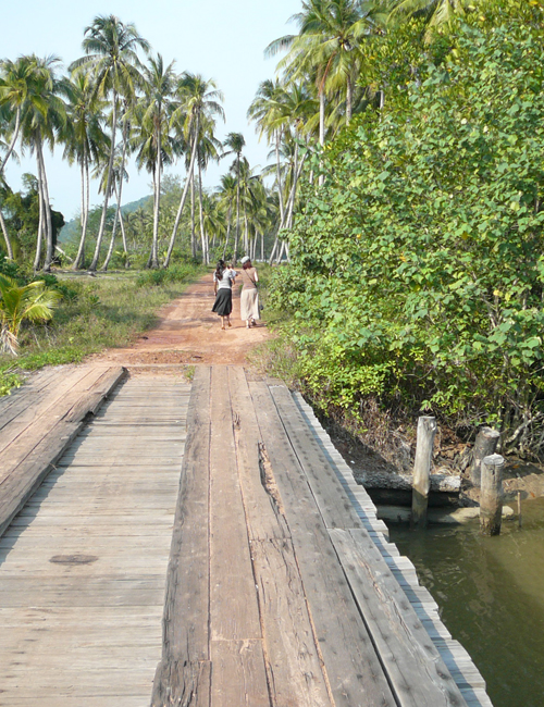 timber bridge at ream near Sihanoukville Cambodia