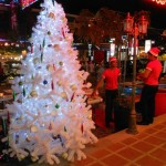 I'm dreamin' of a white...Christmas tree. Downtown Siem Reap is ready to party.