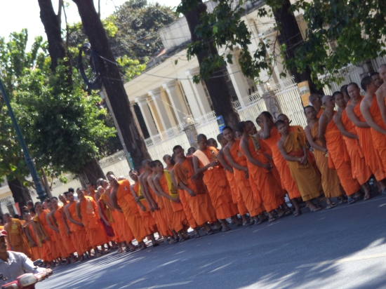 Monks queueing for a viewing