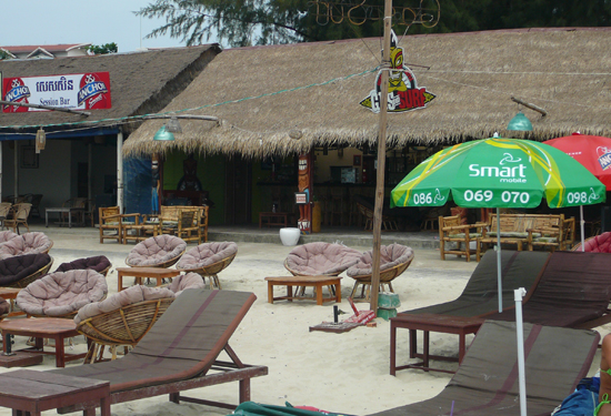 bars on Ochheuteal Beach, Sihanoukville Cambodia