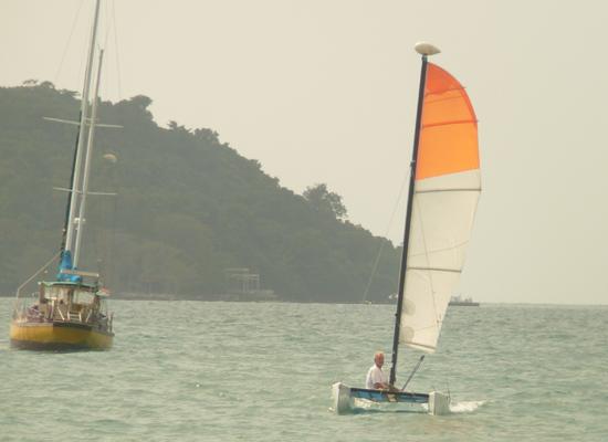 Sailing a Hobie cat off Otres Beach, Sihanoukville Cambodia