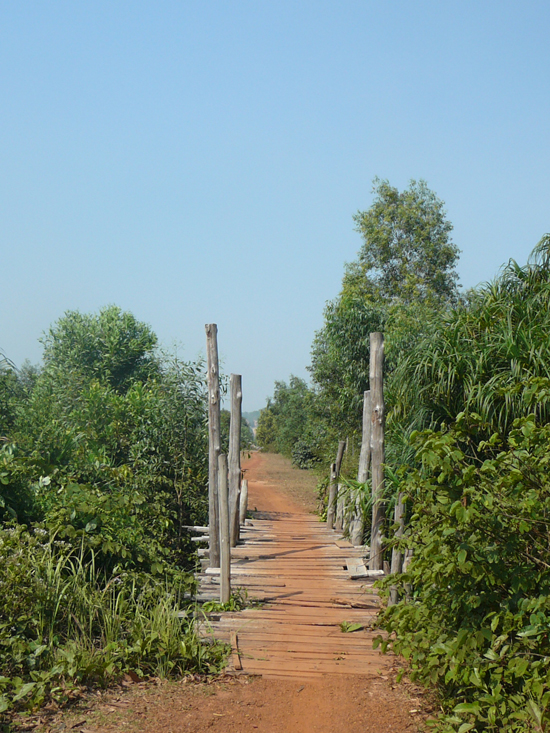 timber bridge in rural Sihanoukville Cambodia