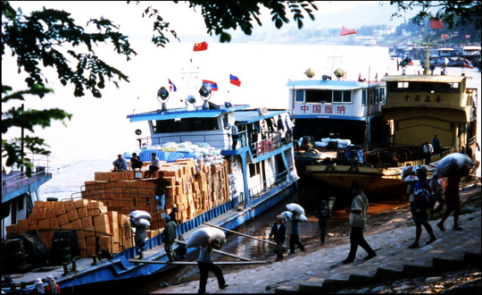 Chinese cargo boats docked in Chiang Saen