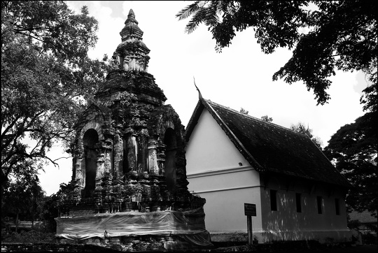 The old hall and 15th century chedi