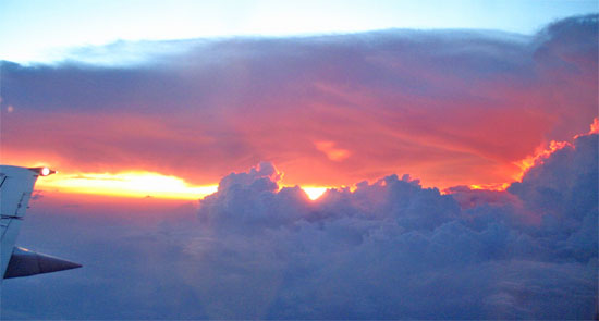 RTW flights: Be sure to book flights that includes fluffy white clouds.