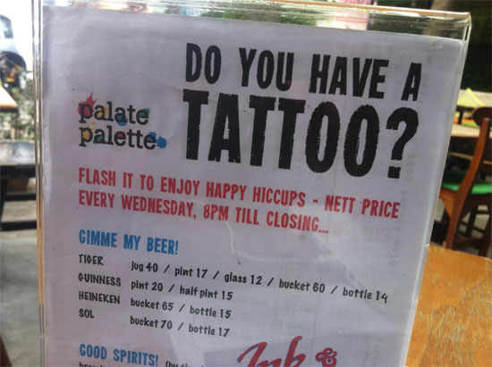 Mix your boozing with a touch of tattooing.