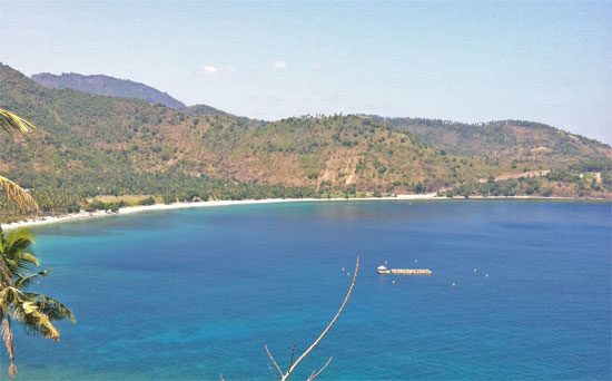 A typically over-developed beach on Lombok.