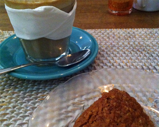 Anzac bikkie and a soy latte.