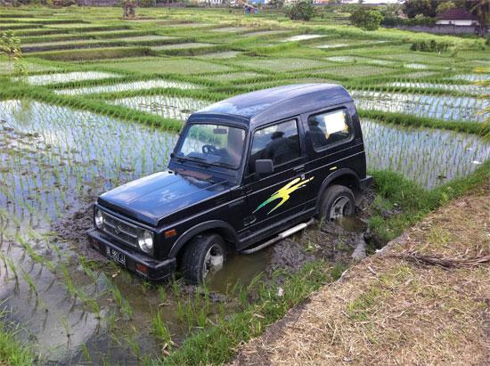 Wet season parking in Umalas, Bali.