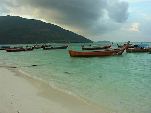 Ko Adang and long-tails, from Sunrise Beach.