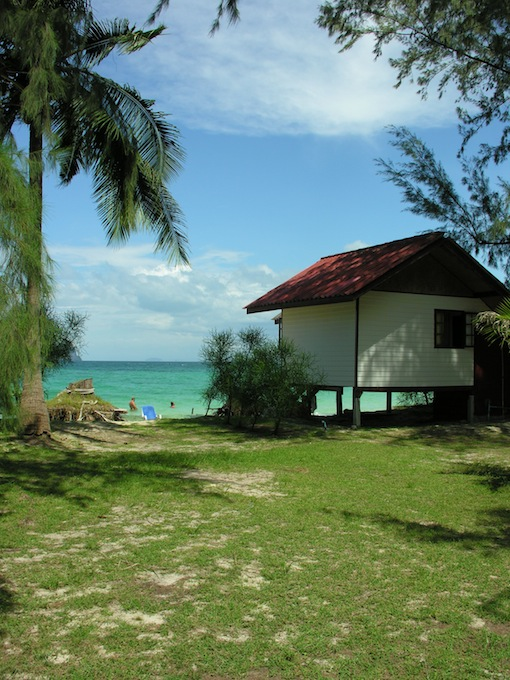 A basic beachfront bungalow at Bulone Beach Resort.