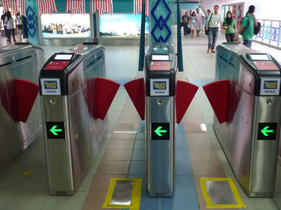 Shiny new ticket barriers.