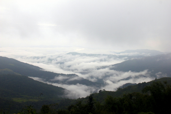 Valleys of clouds near Phongsali - people live out there