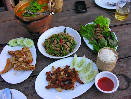 Our spread at Savan Lao Dearm -- that cold beer came in handy.