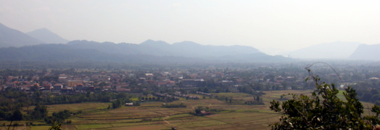 Great views over Vang Vieng from the top of Pha Poak