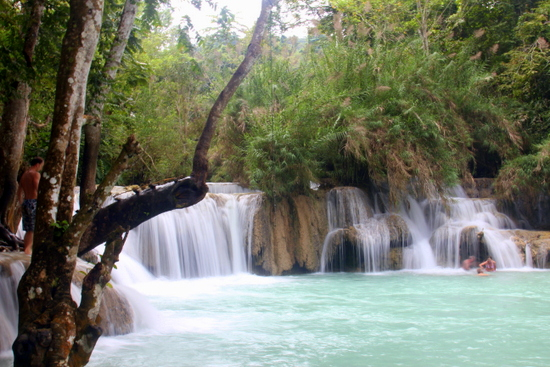 The swimming area at Kuang Si Waterfalls is a perfect spot to cool off.