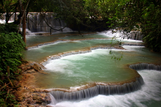 Kuang Si Falls are a popular spot with backpackers and older travellers alike.