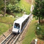 A hi-tech twenty-first century funicular train has replaced the old red-and-white carriages.