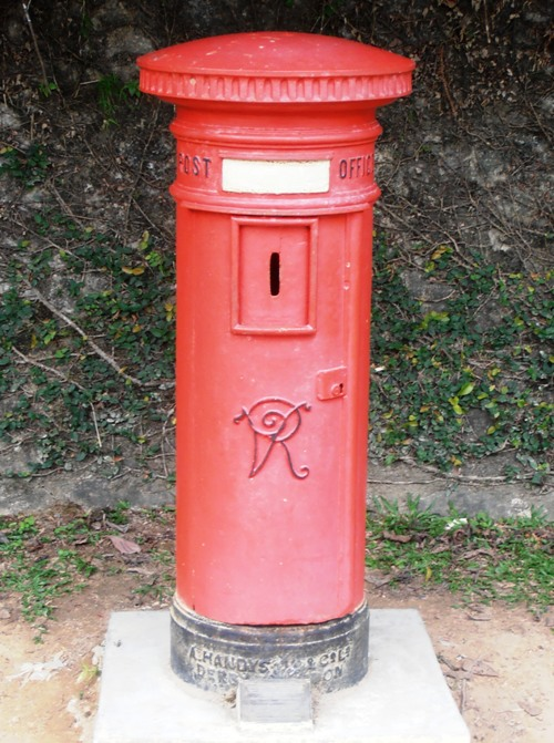 An original red Victorian post box seems bizarrely appropriate on Penang Hill.