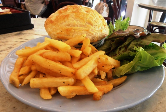 Chicken pie and chips is about as comforting as food can get.