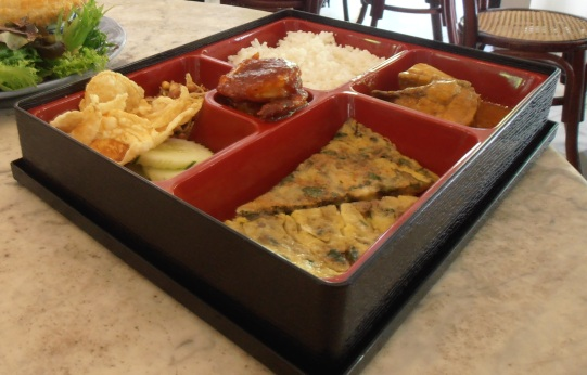 A Malay feast: the nasi lemak bento box.