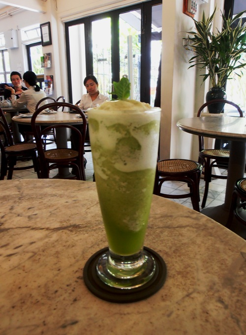Cool down with a pineapple and mint frappe.