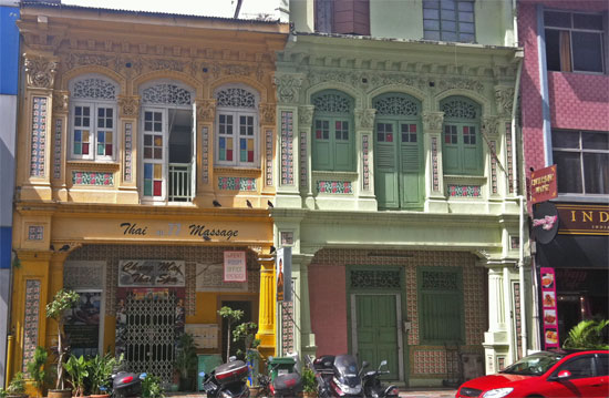 Shopfronts in Little India.