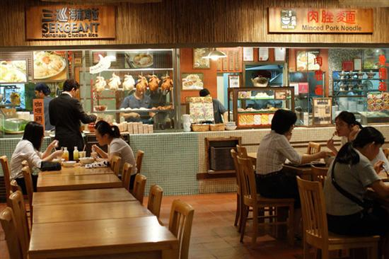 Think of Singapore's foodcourts as hawker centres with air-con