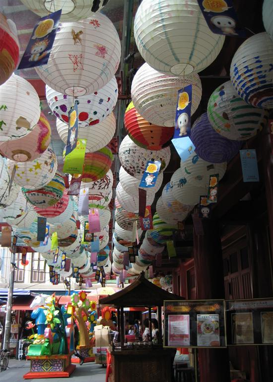 Chinatown is taken filled with lanterns for the Mid Autumn Festival.