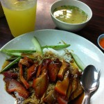 Roasted pork rice and soup - a complete meal for just S$3.00.