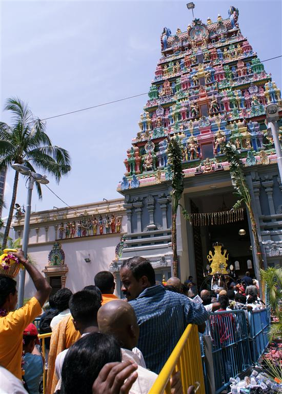 Expect crowded temples in Singapore on Thaipusam day.