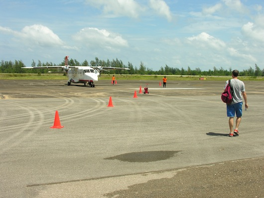 The adventurer set out on to an empty runway before jetting into open skies.