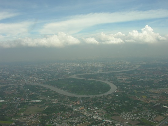 North Bangkok as seen while looping towards Don Muang Airport from the west.