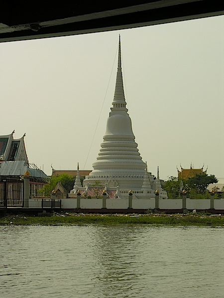 Phra Samut Chedi as seen from the river.