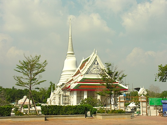 The chedi and temple as seen from the land.