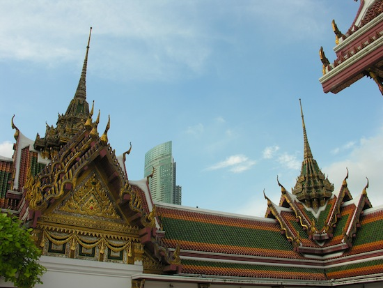 Wat Yannawa's spires hold their own amid the riverfront skyline.
