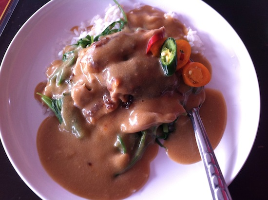 Coconut curry peanut gravy or whatever it is -- we'll just call it yummy.