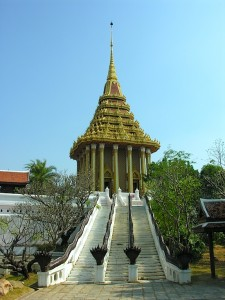 A replica of Saraburi&#039;s Buddha footprint temple.