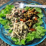 Burmese tea-leaf salad, Shan style green papaya salad and we can&#039;t remember the other one!