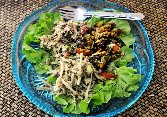 Burmese tea-leaf salad, Shan style green papaya salad and we can't remember the other one!
