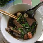 Boat noodles at Jaymouie -- porky heaven in a bowl.